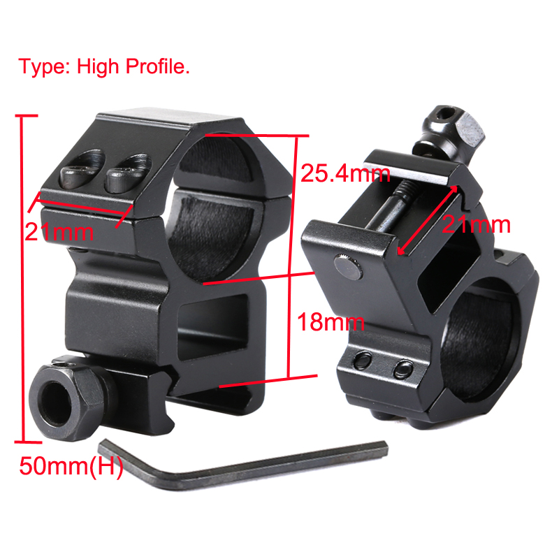 25.4mm Ring Tactical Riflescope Mount with 11mm /20mm Dovetail Rail High Profile Medium Profile Hunting Rifle Scope Mounts 2pcs