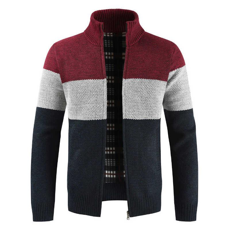 ファッション秋の冬のセーター男性パッチワークスタンド襟フリース暖かいウインドブレーカーカーディガン男性 Sweatercoat M-XXXL