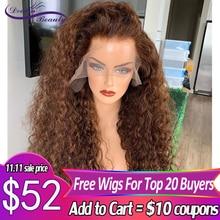 Perruque Lace Frontal wig 180% naturelle Remy brésilienne bouclée, couleur brun 360, 13x6, pre plucked, perruque Lace Front wig