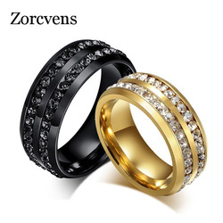 ZORCVENS 8mm Black Dual Row Crystal Wedding Rings for Women Men Stainless Steel Bling Rings Lover Promise Bands Jewelry
