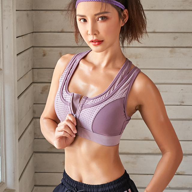 sports bra high impact for women gym running zipper yoga bra padded fitness tops breathable shockproof push up plus size 5