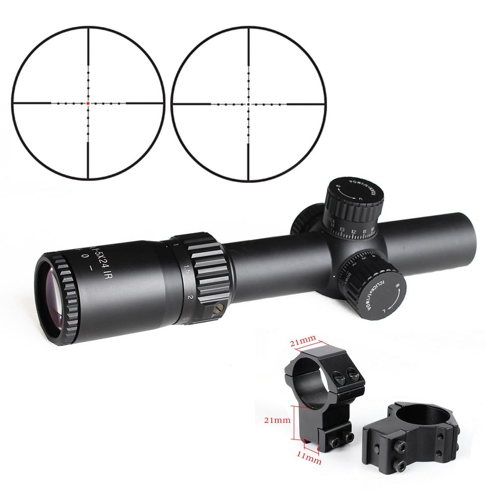 Riflescope BM WA 1-5X24 IR Tactical Optic Sight Wide Angle Red Dot Illuminated Rifle Scope For Hunting Shooting