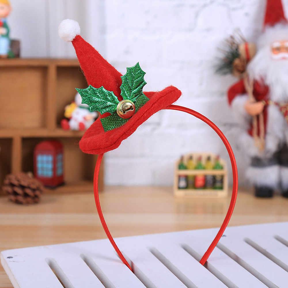Hot Sale 2pcs Christmas Headband For Kids Adult Christmas Hat Christmas Cap Party Santa Xmas Hair Band Clasp Headwear Dropship