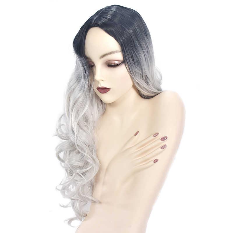 Długie peruki damskie Ombre czarne szare peruki żaroodporne środkowa część boczne syntetyczne faliste peruki dla afroamerykanów kobiet