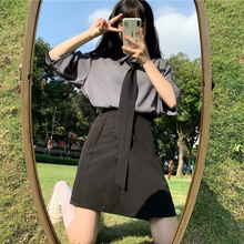 Japanese College jk Uniform Two-Piece Female Wild Necktie Short-Sleeved Shirt + High Waist Pure Color A- line Skirts in Summer