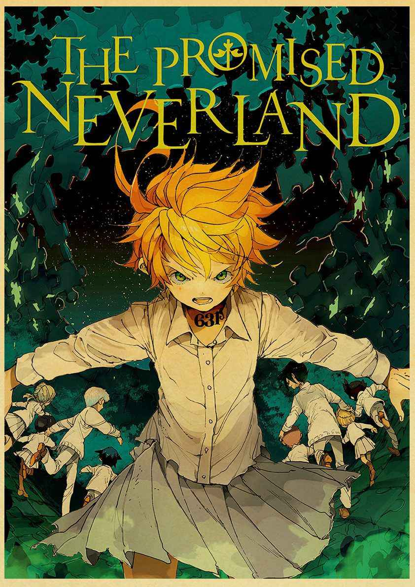 vintage poster art prints the promised neverland anime retro posters yakusoku no neverland norman emma wall picture home decor