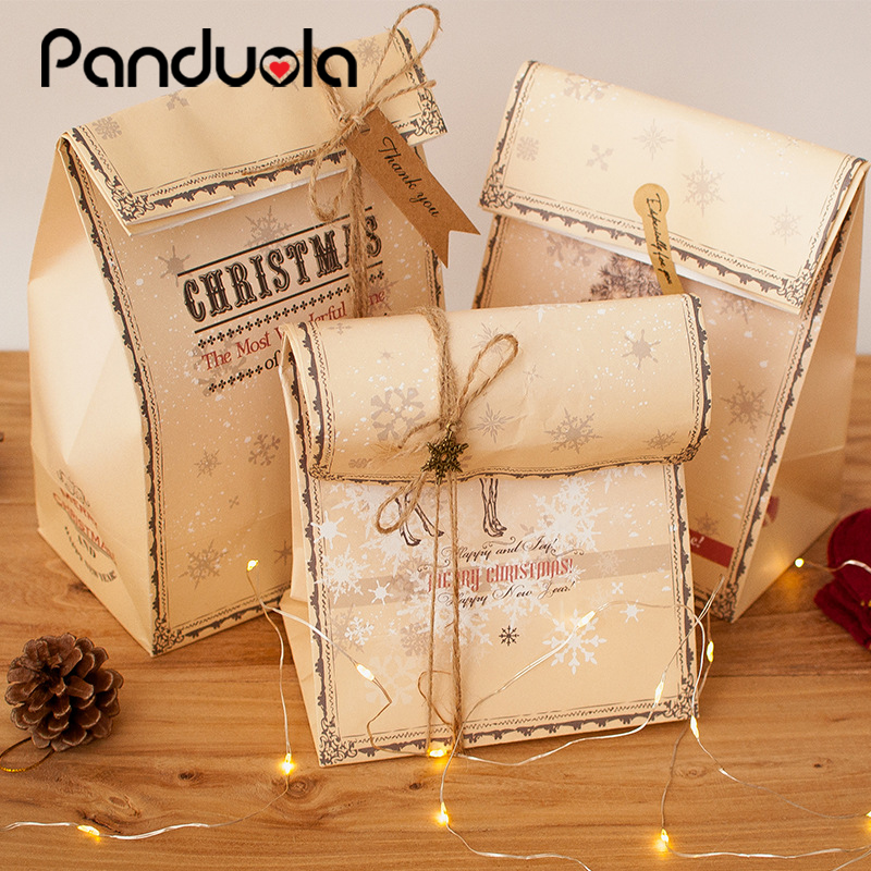 3pcs Retro Elk Pattern Kraft Paper Packing Gift Bags Christmas Party Wedding Marriage Candies Food Cookie Candy Packaging Bags