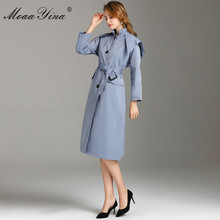 MoaaYina Fashion Designer Windbreaker Overcoat Autumn winter Women Long sleeve Single-breasted Lace-Up