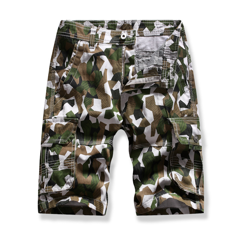 MEN'S WEAR New Style Summer Short Shorts Men Europe And America Military Style Camouflage Large Pocket Workwear Men's Middle Pan