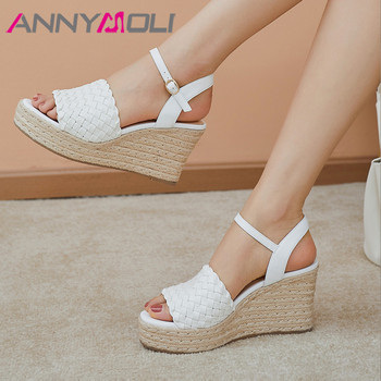 ANNYMOLI Woman Real Leather Sandals Espadrille Platform Wedges Super High Heels Buckle Strap Sandals Open Toe Ladies Shoes White