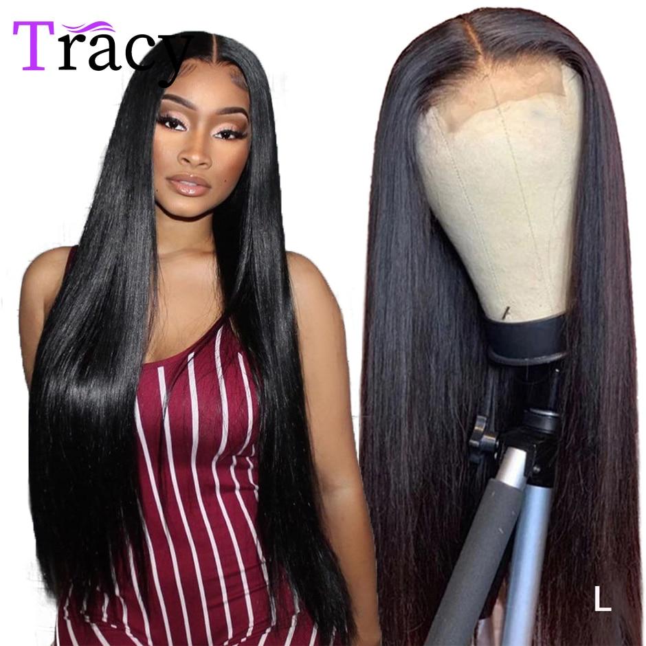 Tracy 4x4 perucas de fechamento do laço para a mulher 28 polegadas malaio remy fechamento reto do laço perucas de cabelo humano com o cabelo do bebê pré arrancado
