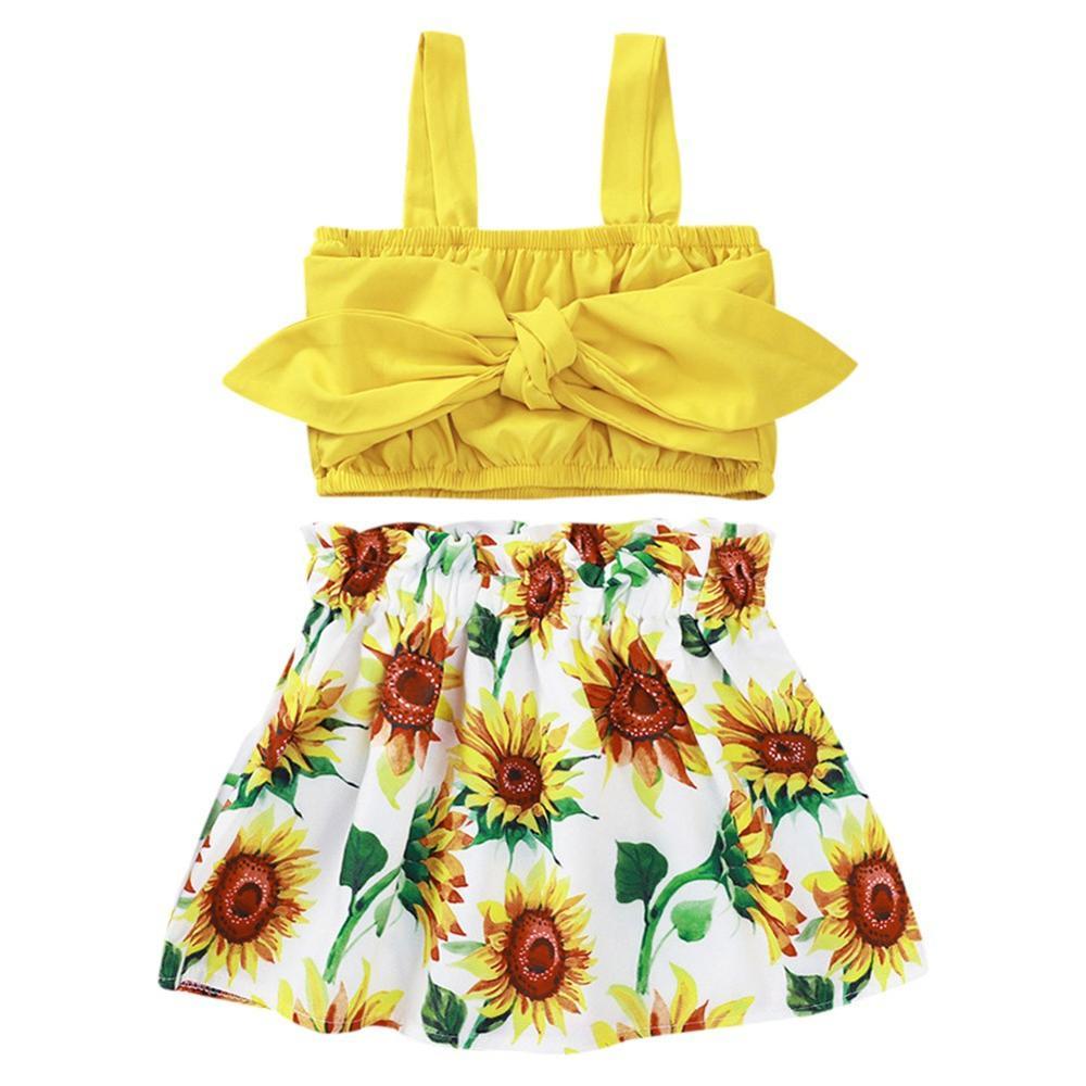Musim Panas Anak Anak Bayi Gadis 2 Buah Set Pakaian Warna Solid Tanpa Lengan Rompi Bunga Matahari Rok Set Pakaian Aliexpress