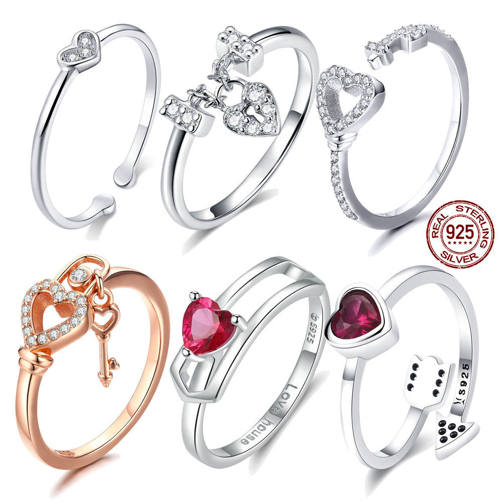 Autentiska 100% 925 Sterling Silver Love Heart Forever More Stackable billiga fingerringar för kvinnor Clear CZ Smyckegåva WEU7124