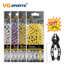 VG Sports 6 7 8 9 10 11 Speed Bicycle Chain Velocidade Titanium Rainbow Gold Silver Mountain Road Bike MTB Chains Part 116 Links
