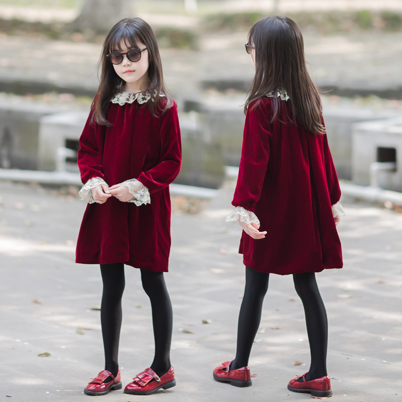 Girls Christmas Dress New Children Autumn Winter Princess Dresses Little Girls Clothing Velvet Warm Lace Neck Vestidos GDR728