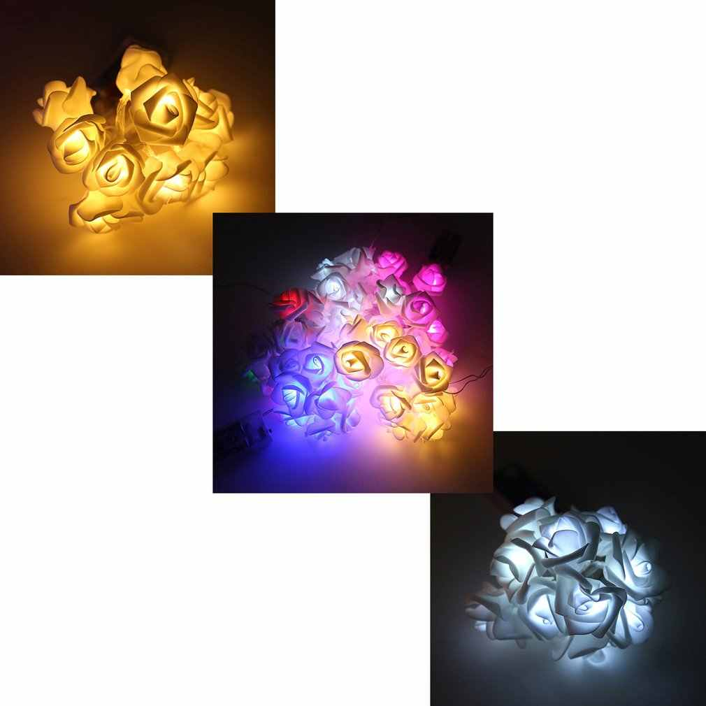 Cadena de luces 20 Leds bolas de piel acrílica Rosa flor lámpara para interior al aire libre jardín Navidad Fiesta luces Festival USB carga