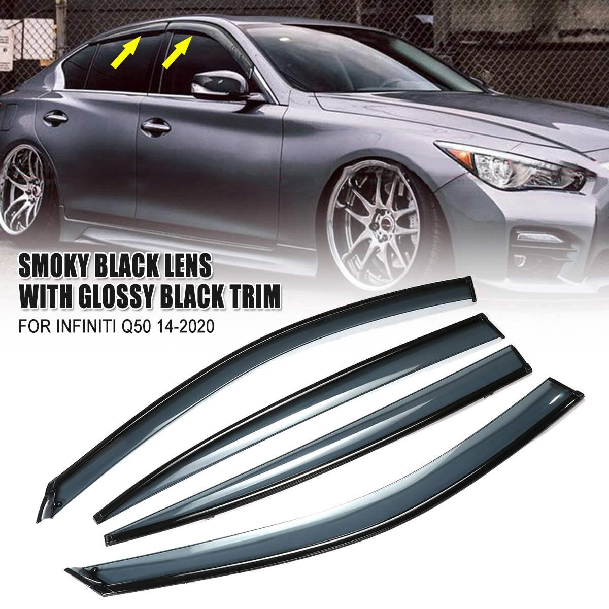 4Pcs Auto di Plastica Window Visor Deflettori del Vento Sole Guardia Pioggia Vent Visiera Fumo Nero Accessori di Copertura Per Infiniti Q50 2014-2020