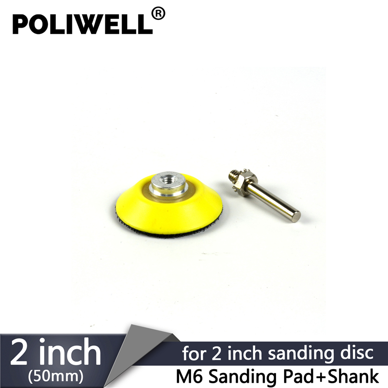 POLIWELL 2 Inch Back-up Sanding Pad For 50 Mm Hook And Loop Sanding Disc Backer Plate 6 Mm Shank Rotary Power Tools Accessories