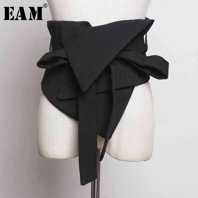 [EAM] Black Cloth Asymmetrical Bow Bandage Wide Belt Personality Women New Fashion Tide All-match Spring Autumn 2020 1A778