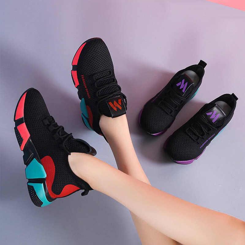Kamucc 2019 Bahar Yeni Kadın rahat ayakkabılar Moda Nefes Hafif Yürüyüş Örgü Lace Up düz ayakkabı Ayakkabı Kadın 36-40