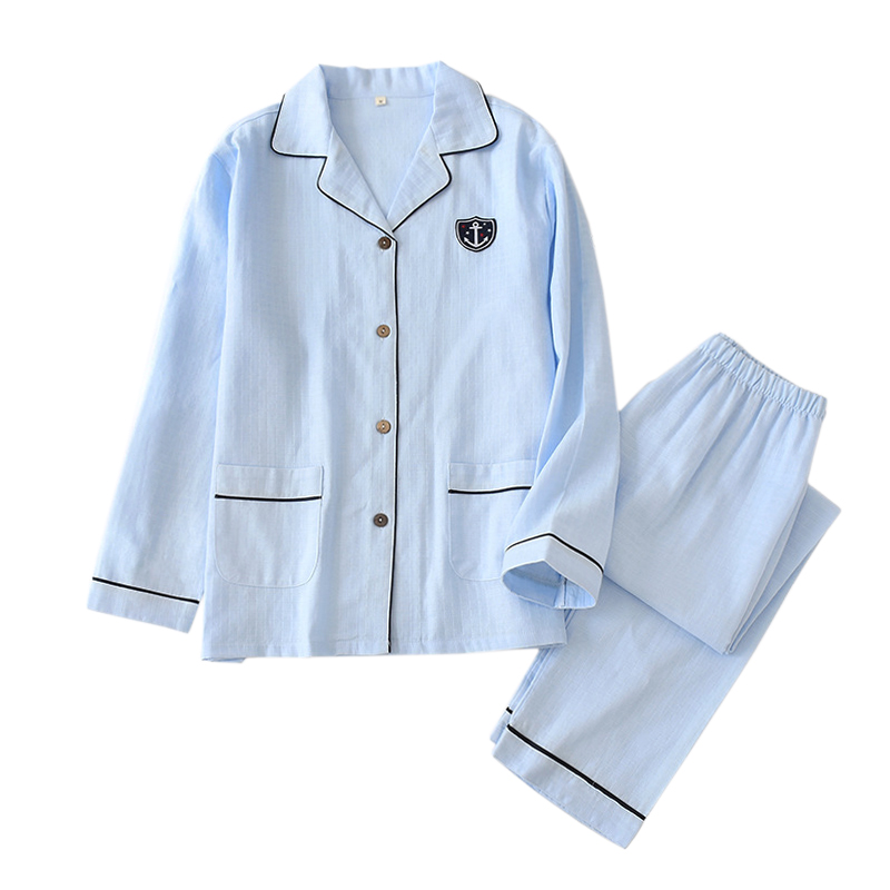 Japanese Fresh Navy Pajama Sets Men Sleepwear Hombre 100% Gauze Cotton Casual Male Long Sleeve Cozy Summer Pyjamas Men