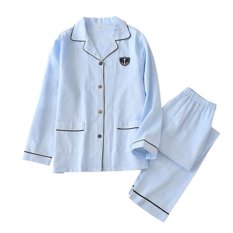 Japanese Fresh Navy Pajama Sets Men Sleepwear Hombre 100% Gauze Cotton Casual Male Long Sleeve Cozy Summer Pyjamas Men