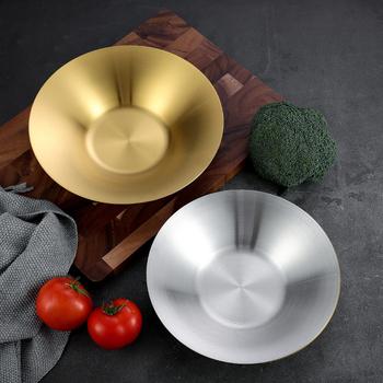 304 stal nierdzewna okrągły talerz na owoce domowe danie koreański talerz głęboki talerz na przekąski makaron talerz talerz sałatkowy płytkie talerze naczynia tanie i dobre opinie supple CN (pochodzenie) ROUND STAINLESS STEEL Stałe