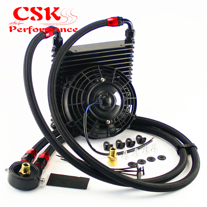 """Universal 15 linha an10 32mm kit refrigerador de óleo + 7 """"ventilador elétrico para pista/carro corrida preto-0"""