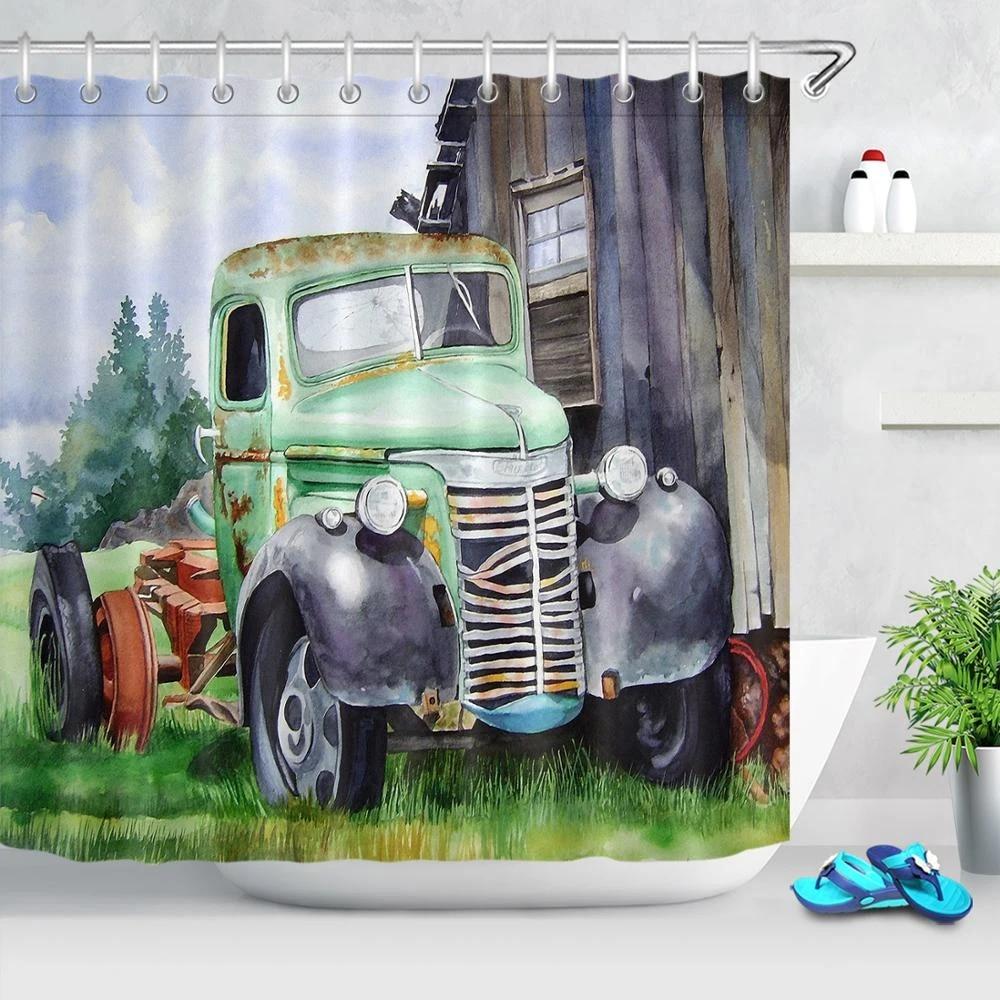 vintage old truck car barn shower curtains country style bath curtain farmhouse decor polyester fabric shower curtain set