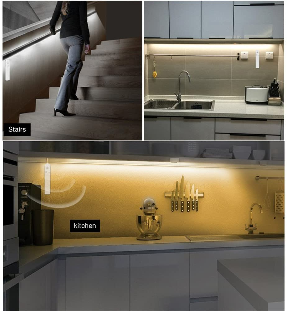 LED Strip Lights Motion Sensor, Wireless LED Bed Light Illumination, AIMENGTE 1M 2M 3M Led Closet Rope Light Bedside Lamp