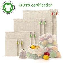 Saco de armazenamento de frutas vegetais reutilizáveis produtos sacos eco-friendly 100% sacos de malha de algodão orgânico biodegradável cozinha