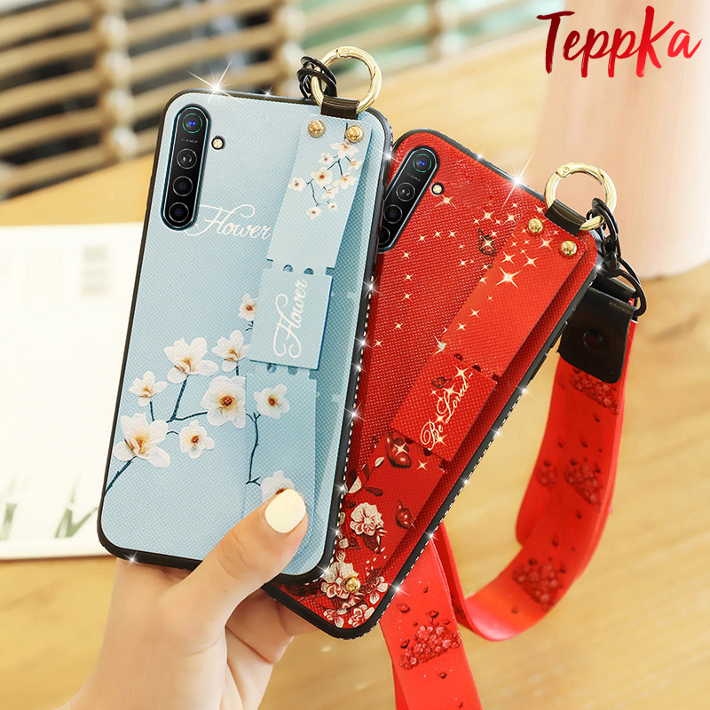 Teppka For Realme XT Case Bling Glitter Strap wristband bracket Cover Case For OPPO Realme XT Coques фото