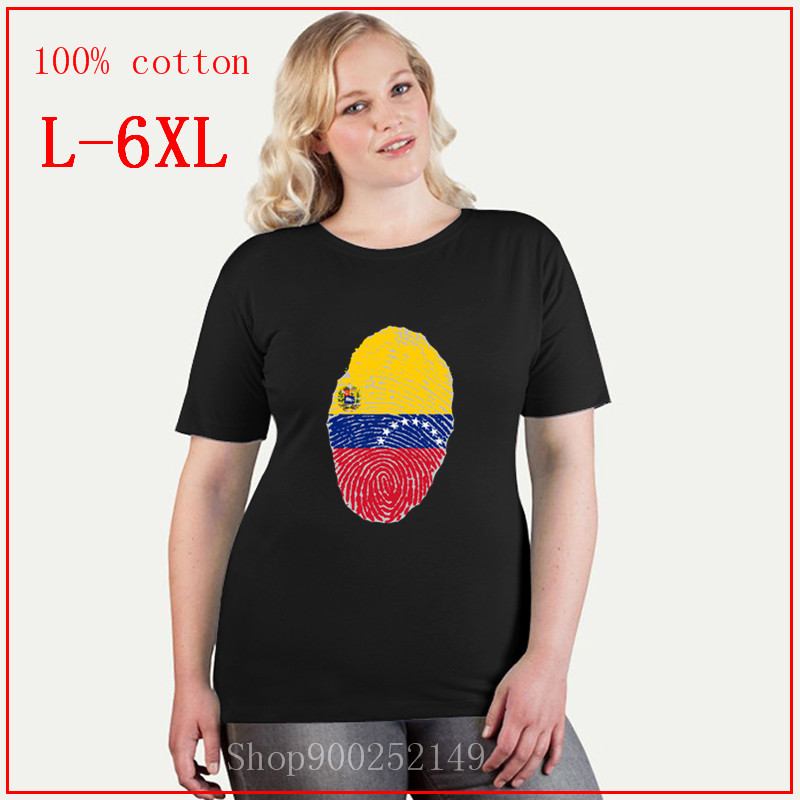 Venezuela Flag Fingerprint Tees women Clothing Cotton T shirt women T shirts Vintage Short Sleeve plus size feminino 4XL 5XL 6XL
