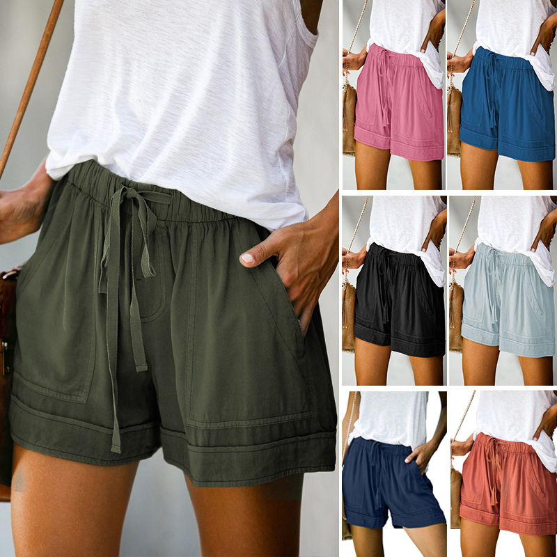Casual Shorts Women New Summer High Waist Lace Up Pocket Loose Wide-leg Shorts Ladies Leopard Floral Shorts Plus Size 5XL Shorts