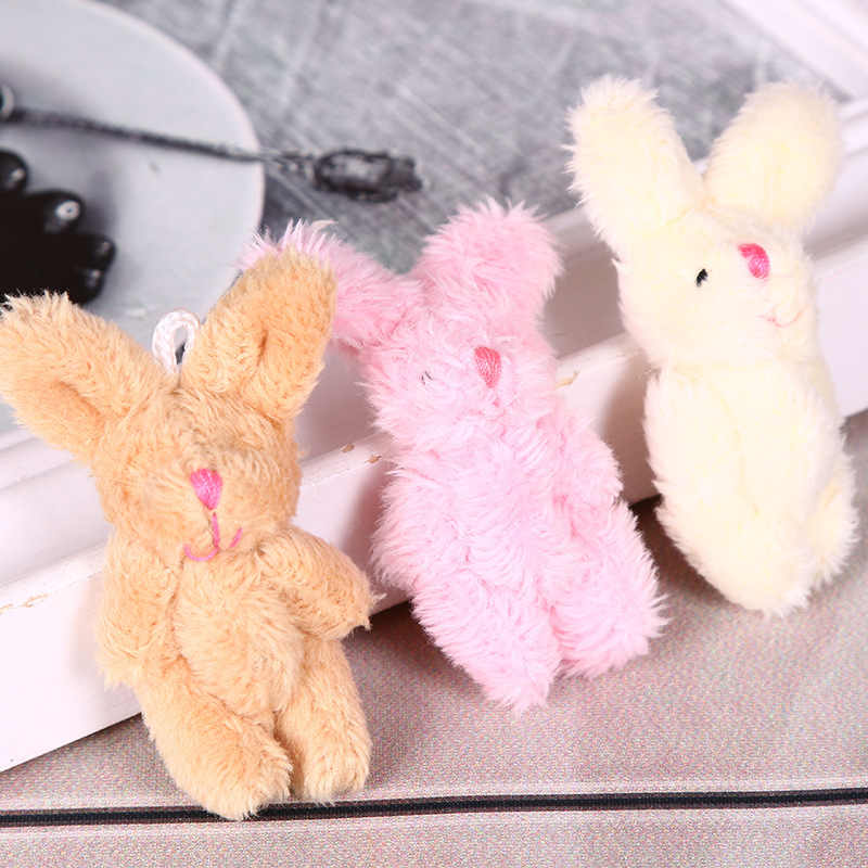 1PC Soft Mini Joint Rabbit Pendant Plush Bunny For Key Chain Bouquet Toy Doll DIY Ornaments Gifts