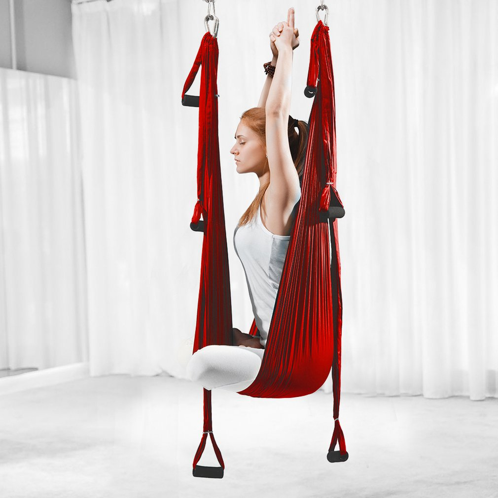 Aerial Yoga Hammock 6 Handles Strap Home Gym Hanging Belt Swing Anti Gravity Aerial Traction Devices Yoga Belts    - AliExpress