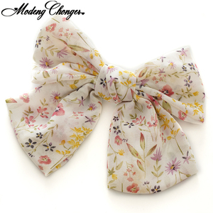 New Chiffon Printing Ponytail Clip Hairgrips For Women Girls Barrettes 2 Levels Big Large Bow Hair Clip Korean Hair Accessories
