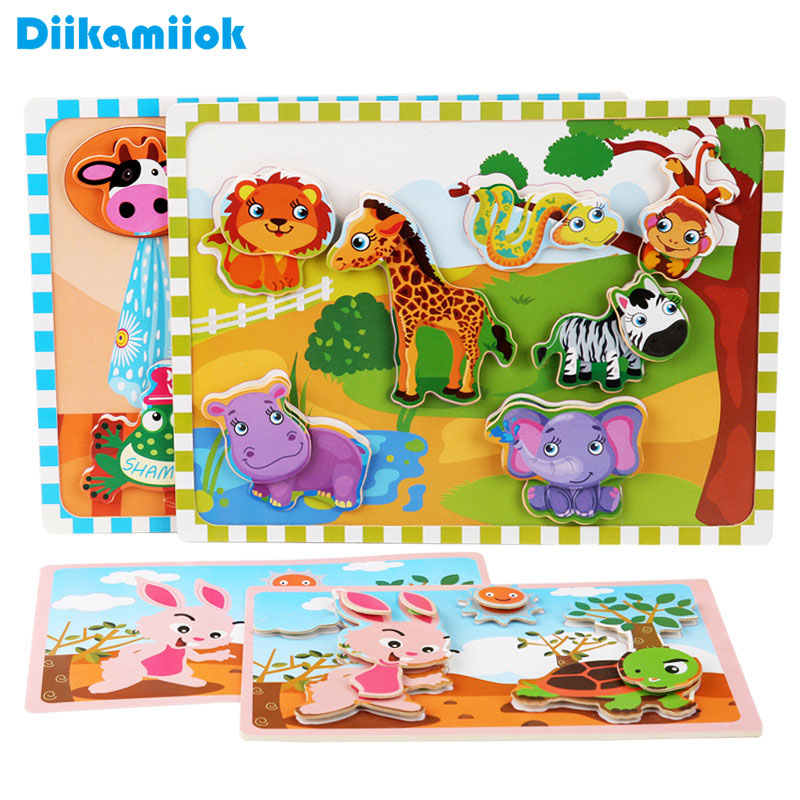Baby Toddlers Cognitive Early Learning Jigsaw Puzzle Kids Cartoon Animals Puzzles Velcro Wooden Educational Toys For Children Aliexpress