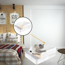 Pets Cat Litter Box Splash Resistance Semi-Enclosed Deodorant Cat Toilet Pan with Shovel Comfortable Monden New N12
