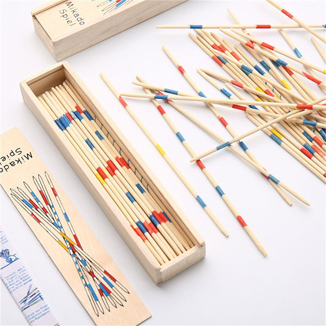 Baby Educational Toys Wooden Traditional Mikado Spiel Pick Up Sticks With Box Game Educational Toys For Parent-child Interaction 6