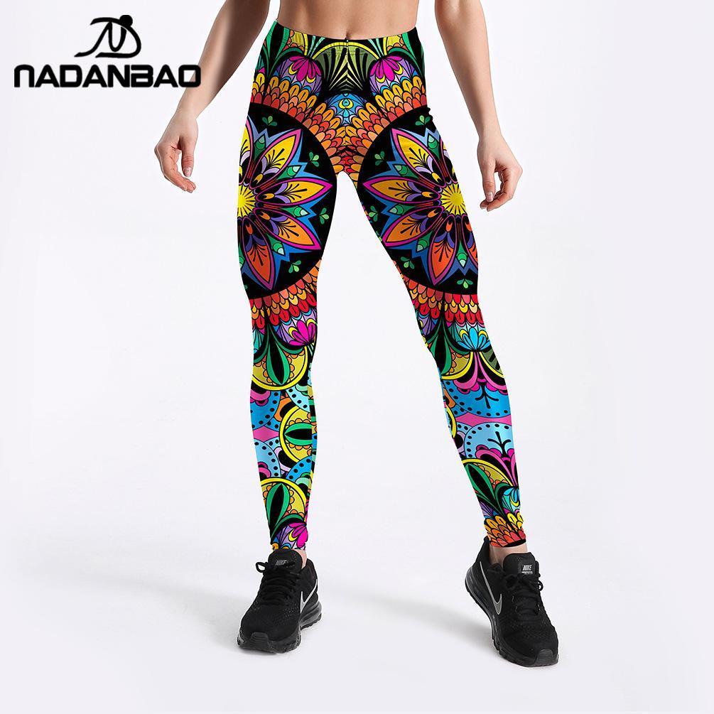 NADANBAO Multicolor Mandala Woman Leggings For Fitness Sporting Pants High Elastic Leggins Workout Mid Waist Legin