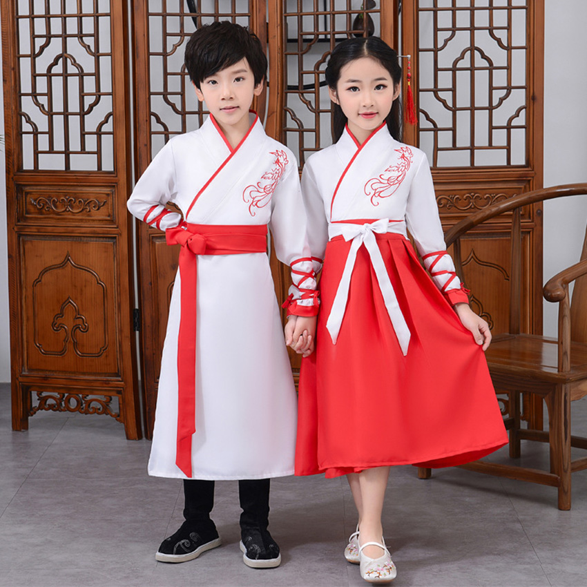Ancient Hanfu Kids Dance Costume Adult Folk Dress For Girl Boy Traditional Chinese Clothes Style Festival Outfits Fancy Stage