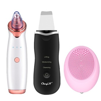 Ultrasonic Skin Scrubber Face Pore Cleaner Exfoliator Vacuum Suction Blackhead Remover Sonic Electric Facial Cleansing Brush 46