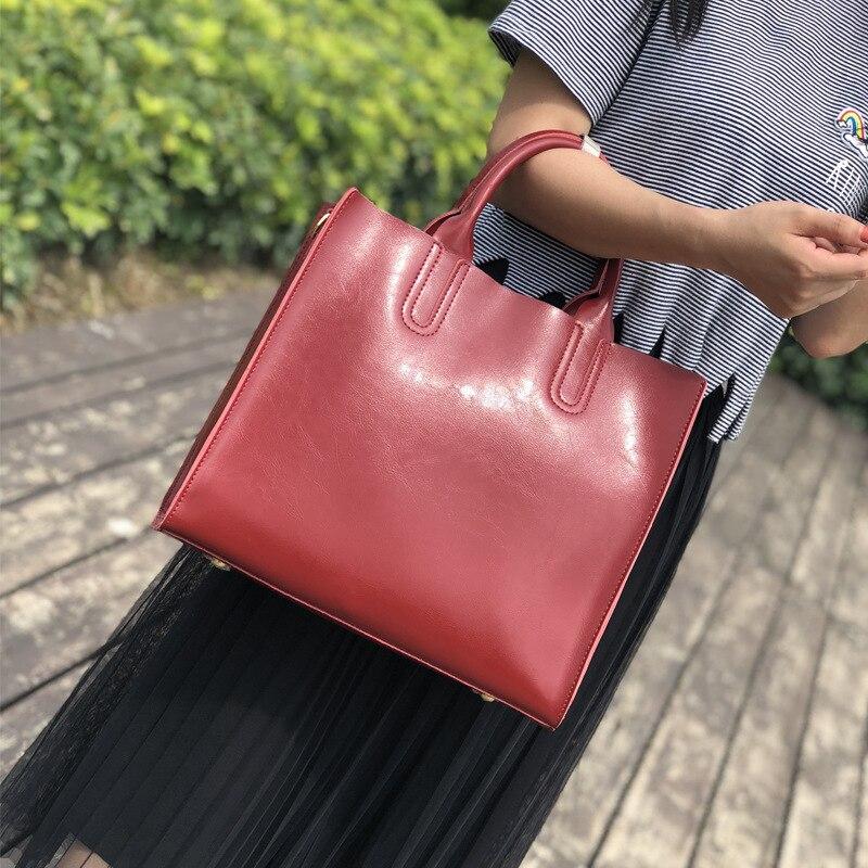 Leather Large Bag Lady Simple Oil Vertical Version of The Hand-held Shoulder Slant Bag