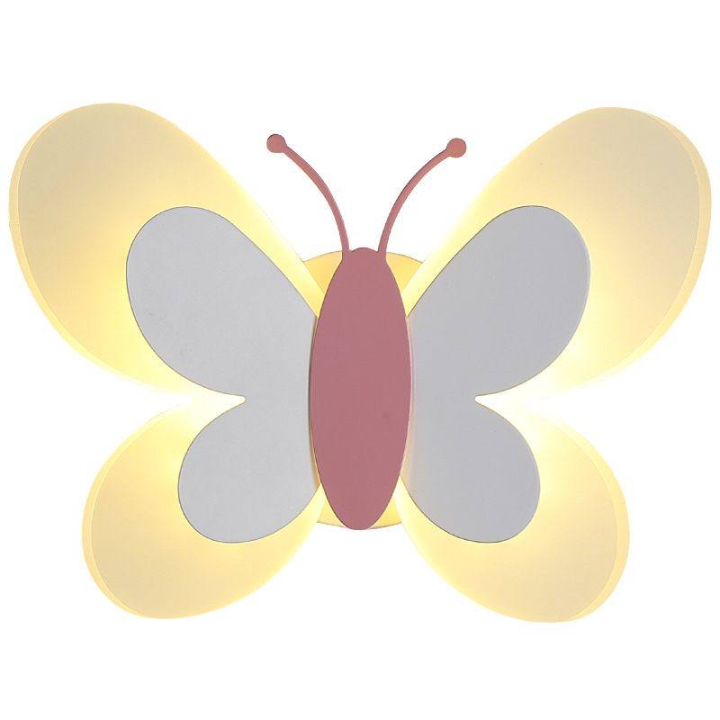 Macaron Butterfly Led Wall Light Sconces Luminaire Home Decoration for Living Room Bedroom Mirror Light Bathroom Fixtures Modern