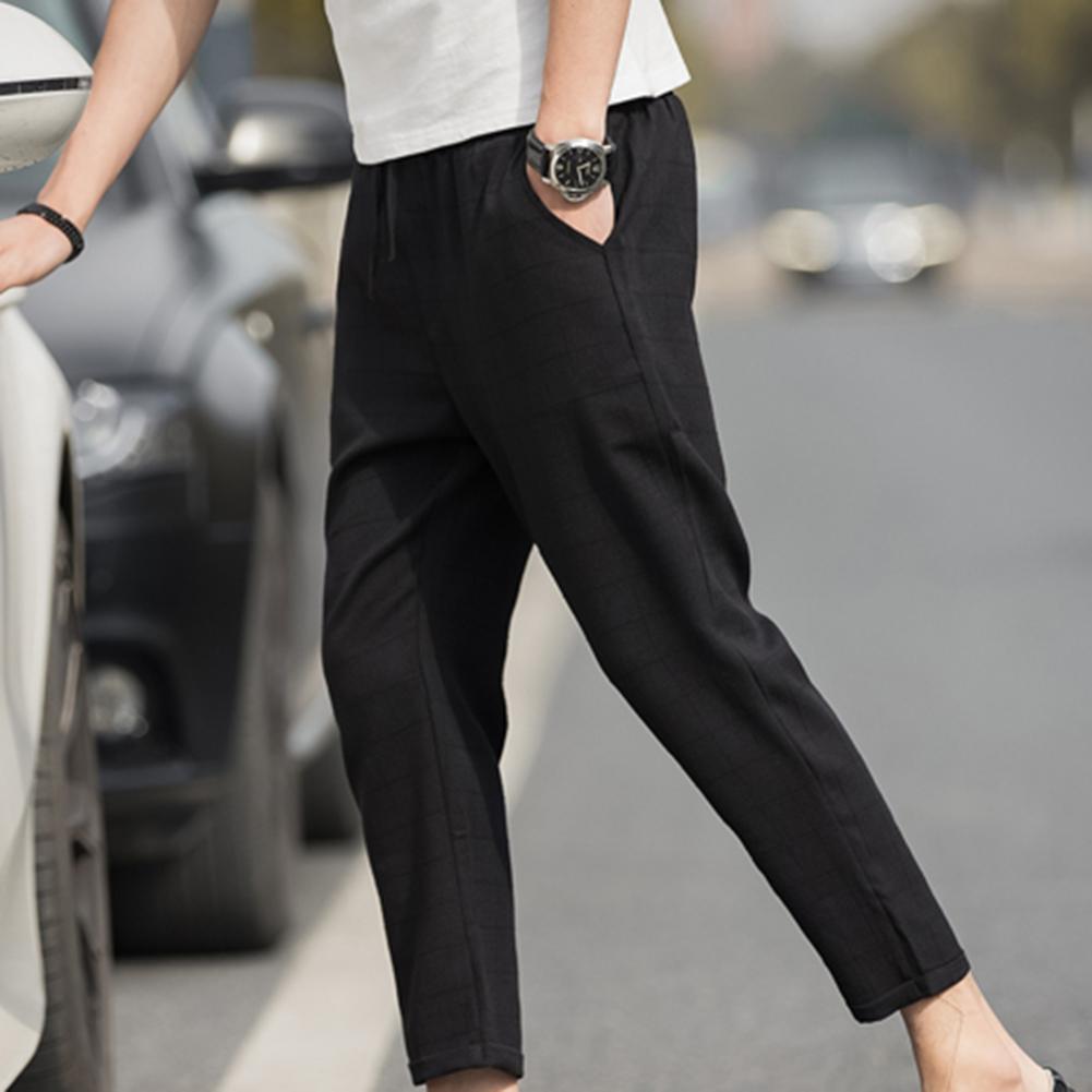 2019 New Trendy Plus Size Pants Men Plaid Drawstring Pocket Elastic Waist Pencil Trousers  Casual Harem Pants Men Trousers