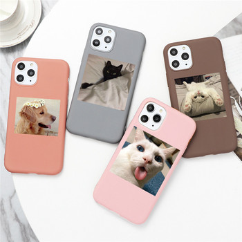 Cute Cat Dog Animals Case For iPhone 7 8 6 6s Plus 5 5S SE 2020 Candy Color Soft Cover For iPhone 12 11 Pro XS Max XR X TPU Case