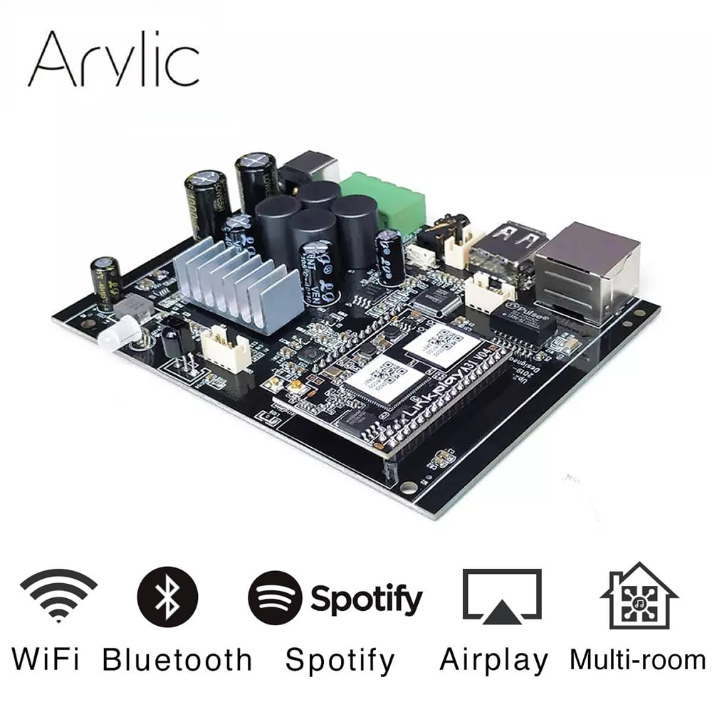 Up2stream WiFi And Bluetooth5.0 HiFi Stereo Class D Digital Multiroom 24V DIY Audio Music Usb Power Amplifier Dac Board Kit