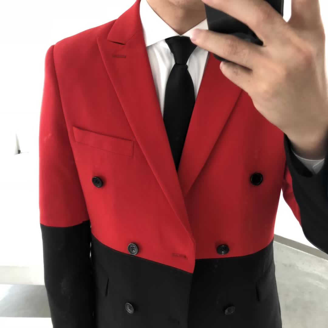 ครึ่งสีดำสีแดงสีขาว Blazer Hombre Double Breasted Blazer Masculino SLIM FIT แต่งงานพรหม Stylish Splice Blazer Homme
