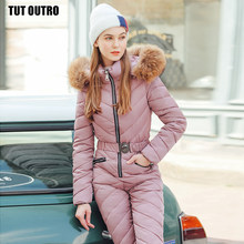 Winter Hooded Jumpsuits Fur Parka Purple Elegant Cotton Padded Warm Sashes Ski Suit Straight Zipper Women Casual Tracksuits(China)